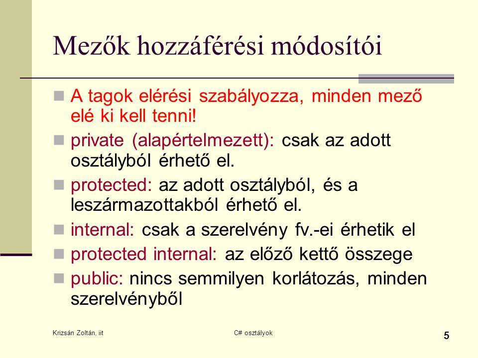 Krizsán Zoltán, iit C# osztályok 5 Mezők hozzáférési módosítói A tagok elérési szabályozza, minden mező elé ki kell tenni! private (alapértelmezett):