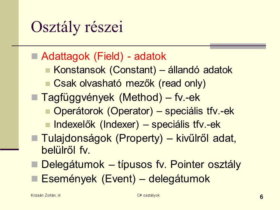 Krizsán Zoltán, iit C# osztályok 6 Osztály részei Adattagok (Field) - adatok Konstansok (Constant) – állandó adatok Csak olvasható mezők (read only) T