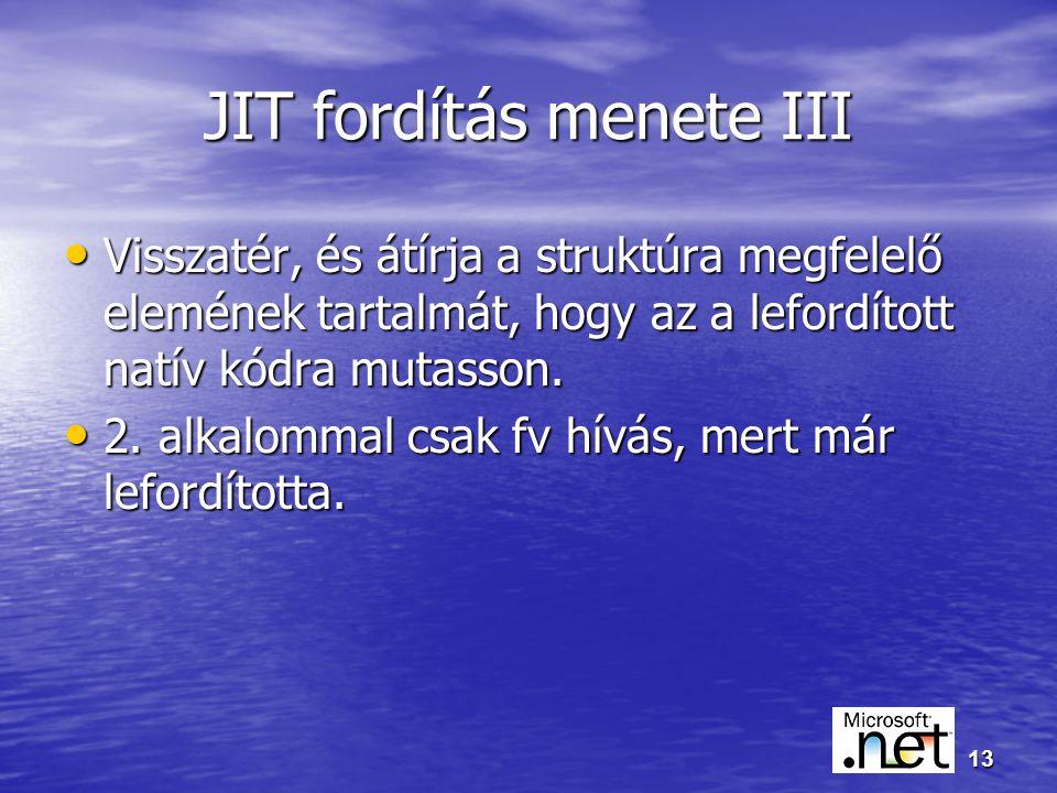 13 JIT fordítás menete III Visszatér, és átírja a struktúra megfelelő elemének tartalmát, hogy az a lefordított natív kódra mutasson.