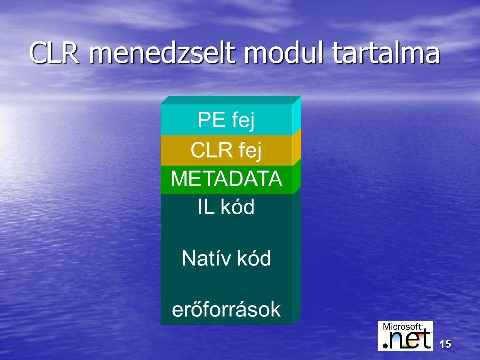 15 IL kód Natív kód erőforrások CLR menedzselt modul tartalma METADATA CLR fej PE fej
