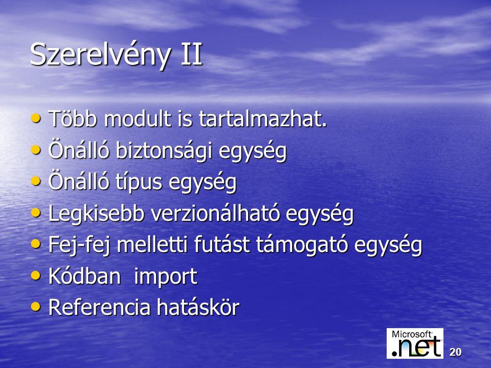 20 Szerelvény II Több modult is tartalmazhat. Több modult is tartalmazhat.