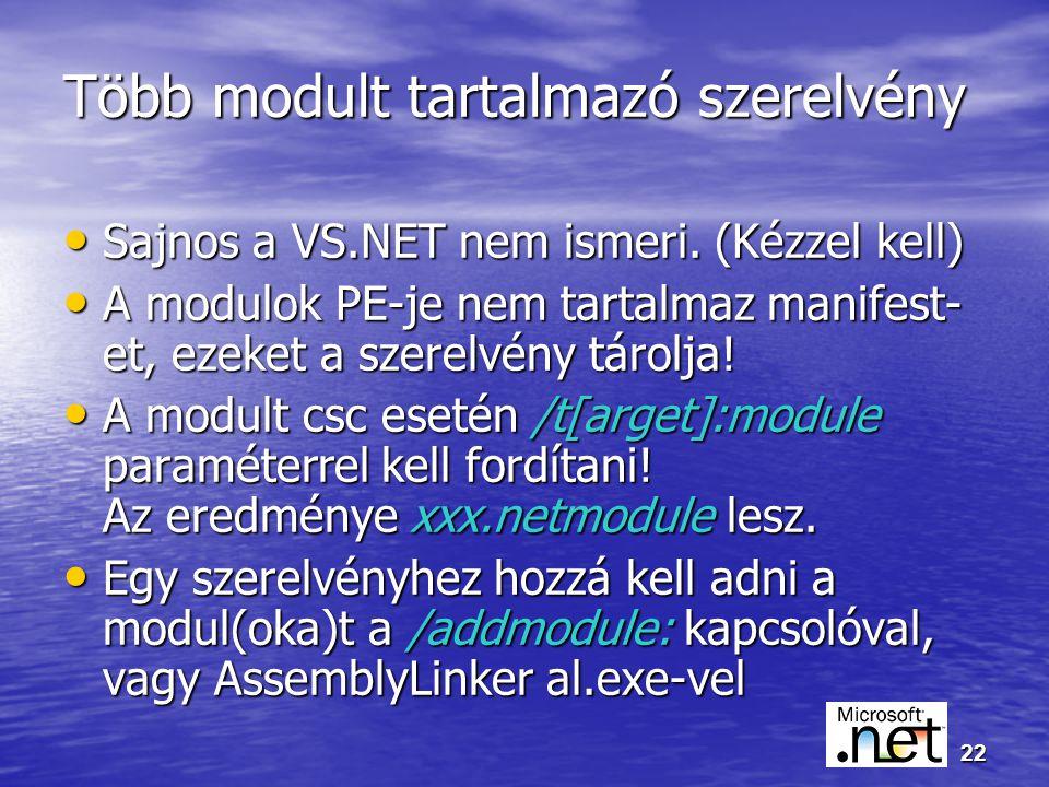22 Több modult tartalmazó szerelvény Sajnos a VS.NET nem ismeri.