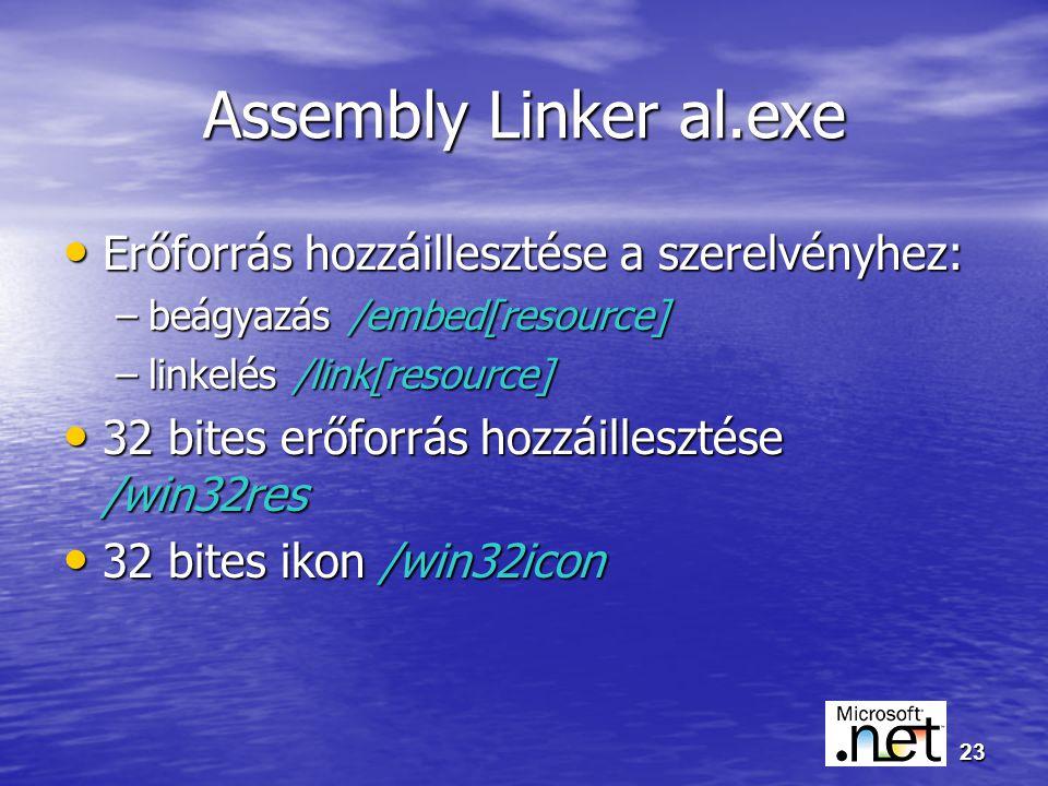 23 Assembly Linker al.exe Erőforrás hozzáillesztése a szerelvényhez: Erőforrás hozzáillesztése a szerelvényhez: –beágyazás /embed[resource] –linkelés /link[resource] 32 bites erőforrás hozzáillesztése /win32res 32 bites erőforrás hozzáillesztése /win32res 32 bites ikon /win32icon 32 bites ikon /win32icon