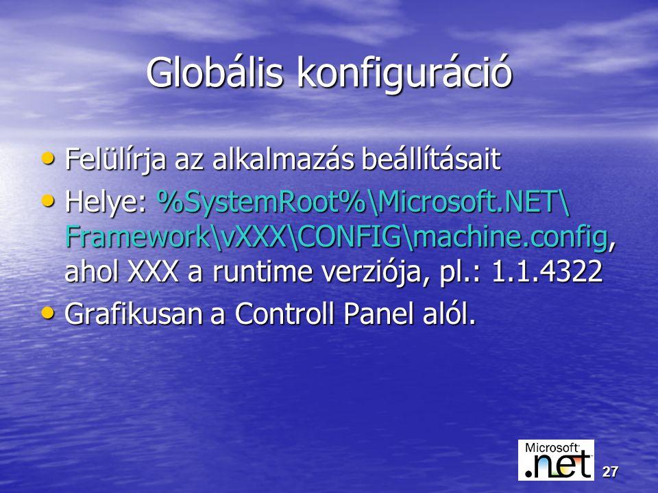 27 Globális konfiguráció Felülírja az alkalmazás beállításait Felülírja az alkalmazás beállításait Helye: %SystemRoot%\Microsoft.NET\ Framework\vXXX\CONFIG\machine.config, ahol XXX a runtime verziója, pl.: 1.1.4322 Helye: %SystemRoot%\Microsoft.NET\ Framework\vXXX\CONFIG\machine.config, ahol XXX a runtime verziója, pl.: 1.1.4322 Grafikusan a Controll Panel alól.