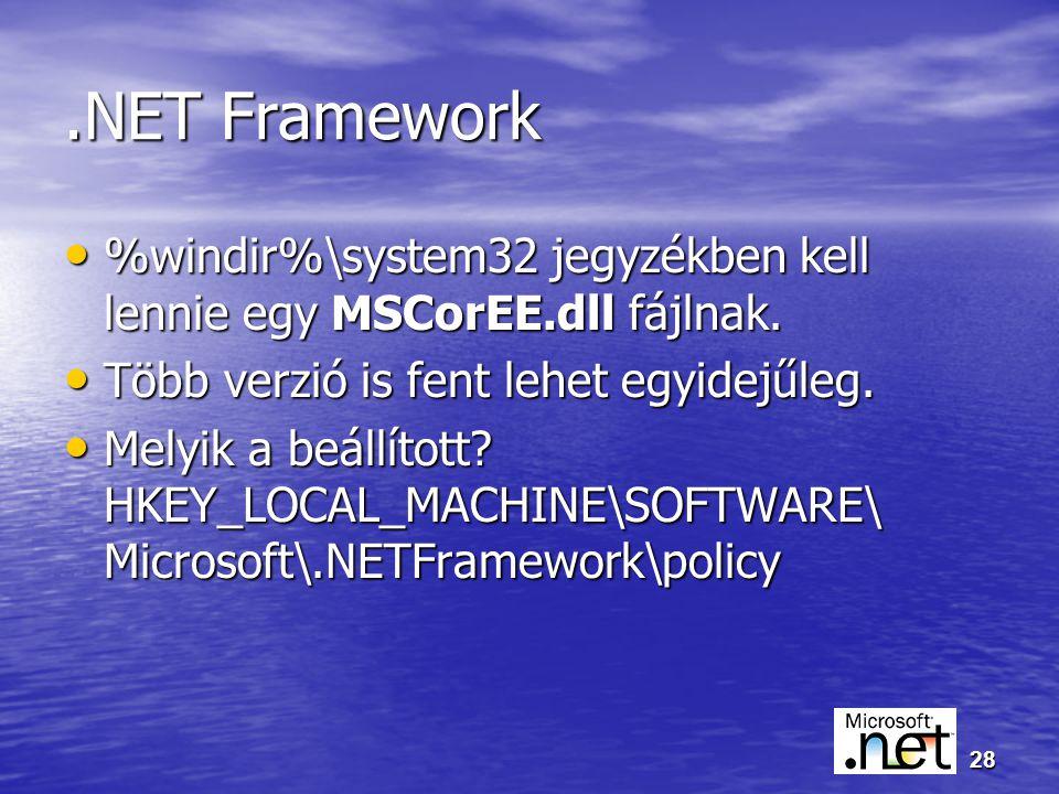 28.NET Framework %windir%\system32 jegyzékben kell lennie egy MSCorEE.dll fájlnak.