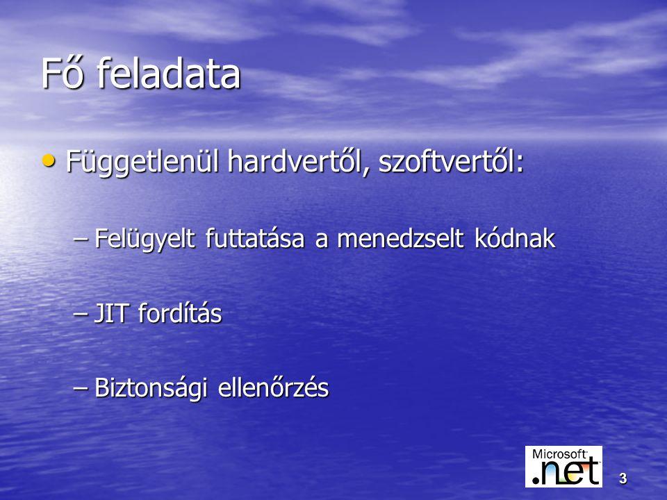 3 Fő feladata Függetlenül hardvertől, szoftvertől: Függetlenül hardvertől, szoftvertől: –Felügyelt futtatása a menedzselt kódnak –JIT fordítás –Biztonsági ellenőrzés