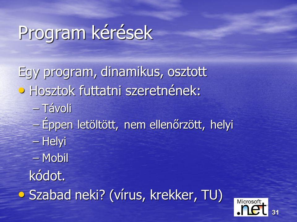 31 Program kérések Egy program, dinamikus, osztott Hosztok futtatni szeretnének: Hosztok futtatni szeretnének: –Távoli –Éppen letöltött, nem ellenőrzött, helyi –Helyi –Mobil kódot.