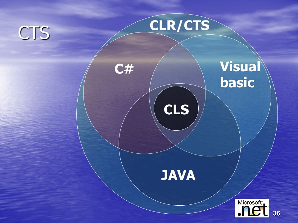 36 CTS C# Visual basic JAVA CLS CLR/CTS