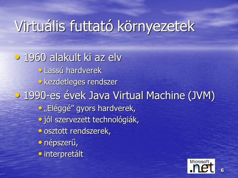 """6 Virtuális futtató környezetek 1960 alakult ki az elv 1960 alakult ki az elv Lassú hardverek Lassú hardverek kezdetleges rendszer kezdetleges rendszer 1990-es évek Java Virtual Machine (JVM) 1990-es évek Java Virtual Machine (JVM) """"Eléggé gyors hardverek, """"Eléggé gyors hardverek, jól szervezett technológiák, jól szervezett technológiák, osztott rendszerek, osztott rendszerek, népszerű, népszerű, interpretált interpretált"""