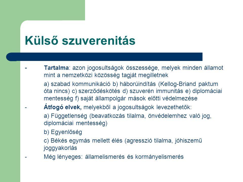 Külső szuverenitás -Tartalma: azon jogosultságok összessége, melyek minden államot mint a nemzetközi közösség tagját megilletnek a) szabad kommunikáci