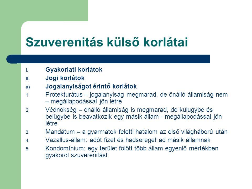 Szuverenitás külső korlátai b) Mentességek 1.Szuverén immunitás 2.