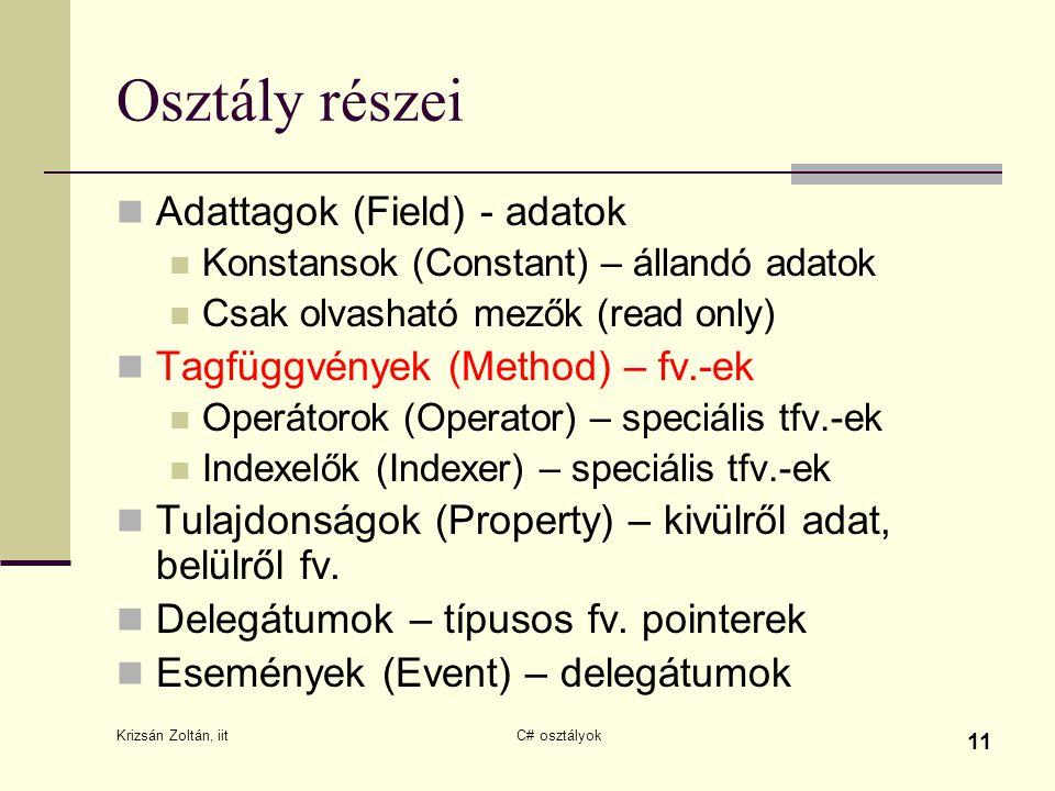 Krizsán Zoltán, iit C# osztályok 11 Osztály részei Adattagok (Field) - adatok Konstansok (Constant) – állandó adatok Csak olvasható mezők (read only)