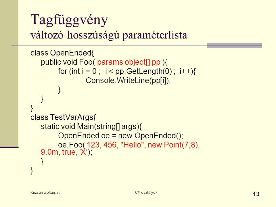 Krizsán Zoltán, iit C# osztályok 13 Tagfüggvény változó hosszúságú paraméterlista class OpenEnded{ public void Foo( params object[] pp ){ for (int i =