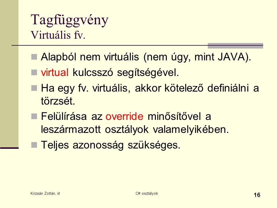 Krizsán Zoltán, iit C# osztályok 16 Tagfüggvény Virtuális fv. Alapból nem virtuális (nem úgy, mint JAVA). virtual kulcsszó segítségével. Ha egy fv. vi