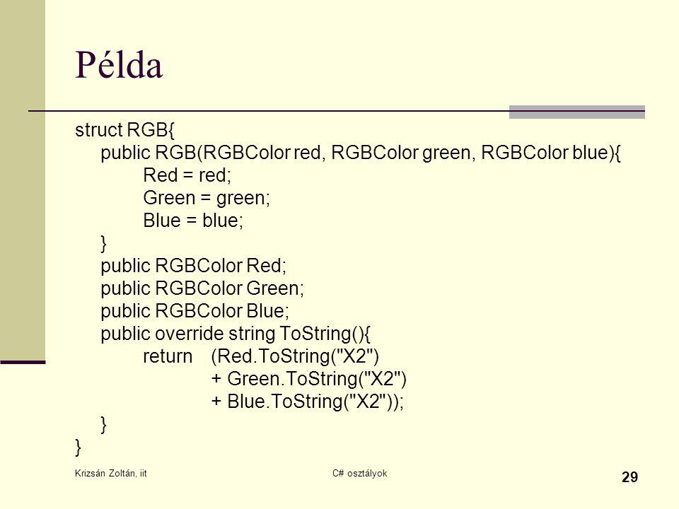 Krizsán Zoltán, iit C# osztályok 29 Példa struct RGB{ public RGB(RGBColor red, RGBColor green, RGBColor blue){ Red = red; Green = green; Blue = blue; } public RGBColor Red; public RGBColor Green; public RGBColor Blue; public override string ToString(){ return (Red.ToString( X2 ) + Green.ToString( X2 ) + Blue.ToString( X2 )); } }