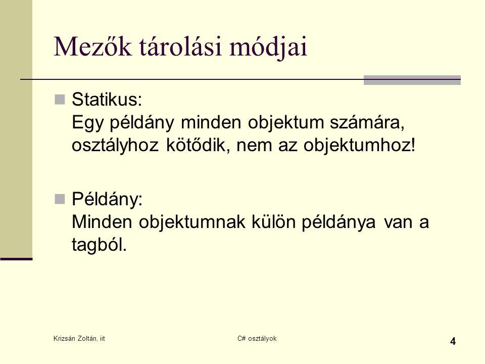 Krizsán Zoltán, iit C# osztályok 4 Mezők tárolási módjai Statikus: Egy példány minden objektum számára, osztályhoz kötődik, nem az objektumhoz! Példán
