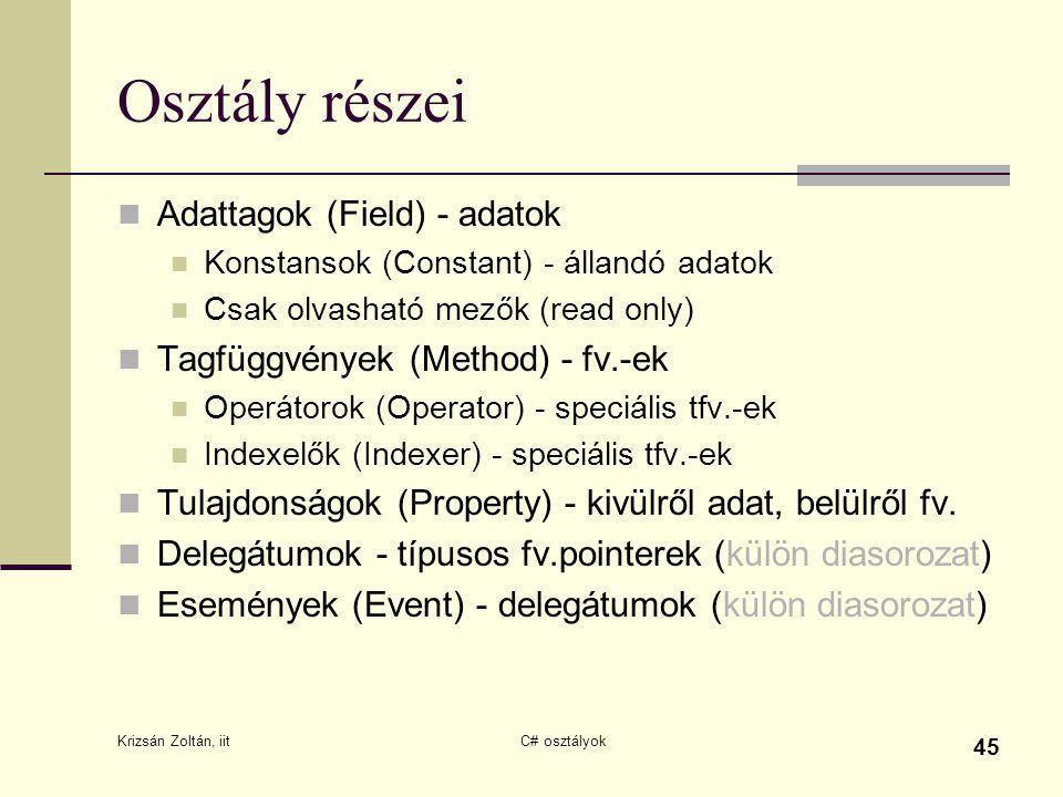 Krizsán Zoltán, iit C# osztályok 45 Osztály részei Adattagok (Field) - adatok Konstansok (Constant) - állandó adatok Csak olvasható mezők (read only)