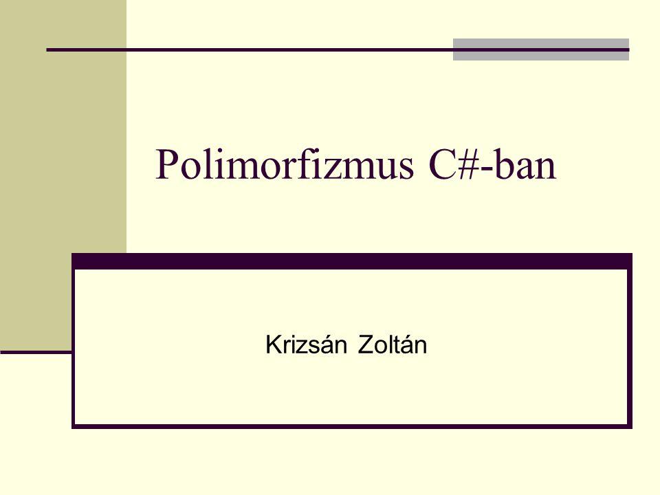 Polimorfizmus C#-ban Krizsán Zoltán