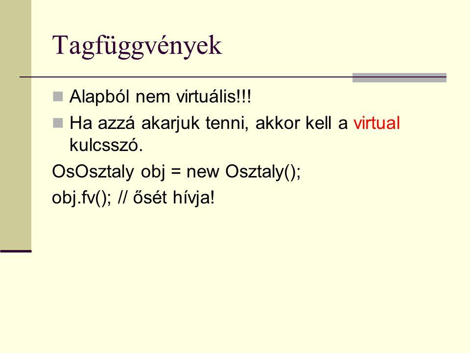 Tagfüggvények Alapból nem virtuális!!! Ha azzá akarjuk tenni, akkor kell a virtual kulcsszó. OsOsztaly obj = new Osztaly(); obj.fv(); // ősét hívja!