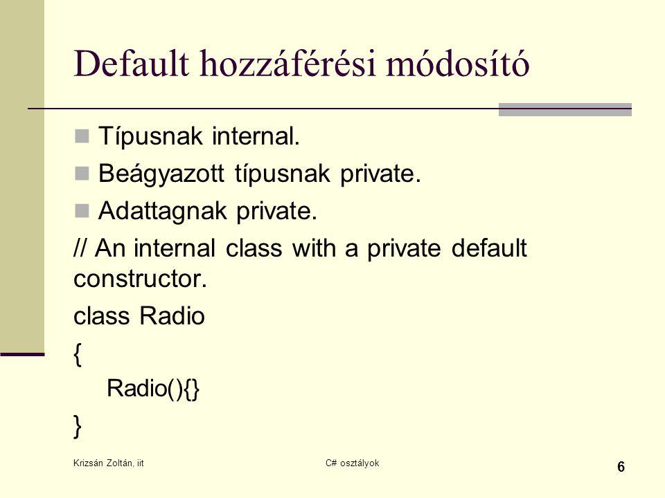 Default hozzáférési módosító Típusnak internal. Beágyazott típusnak private. Adattagnak private. // An internal class with a private default construct