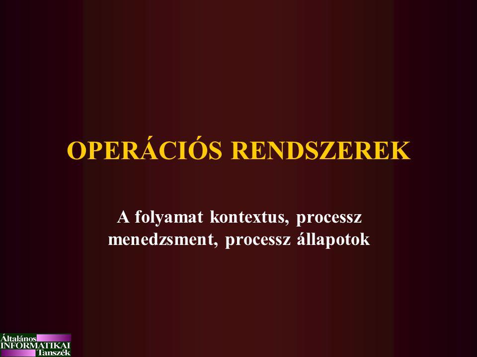 OPERÁCIÓS RENDSZEREK A folyamat kontextus, processz menedzsment, processz állapotok