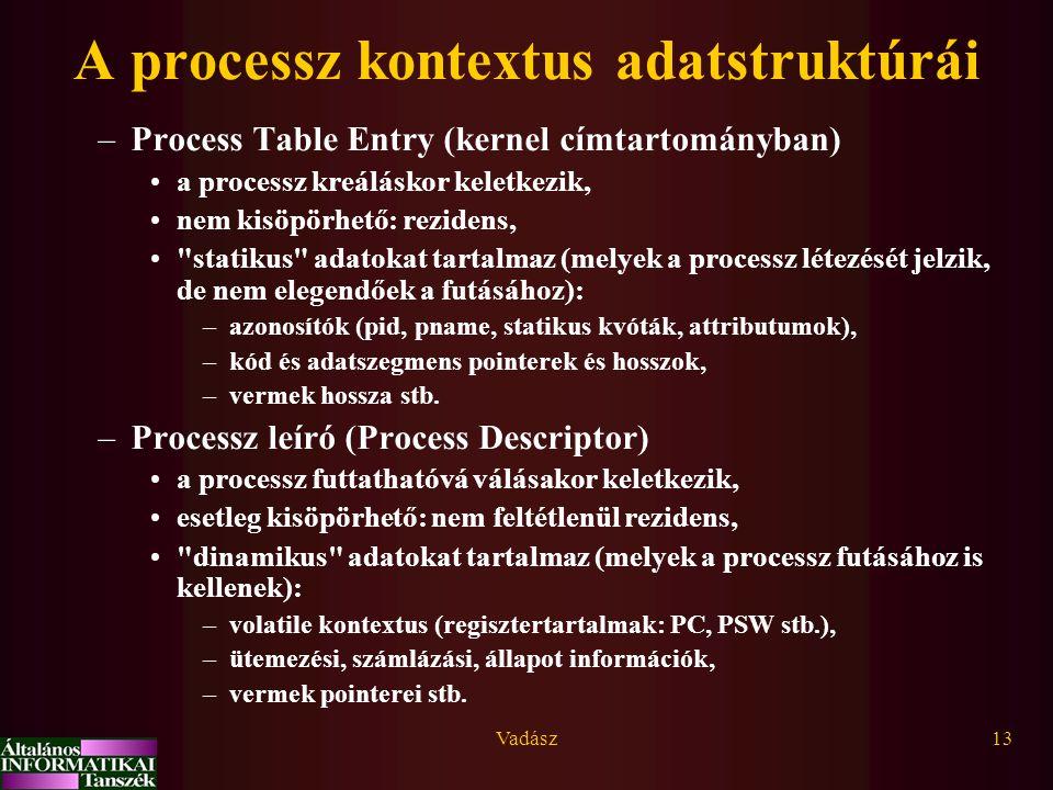 Vadász13 A processz kontextus adatstruktúrái –Process Table Entry (kernel címtartományban) a processz kreáláskor keletkezik, nem kisöpörhető: rezidens