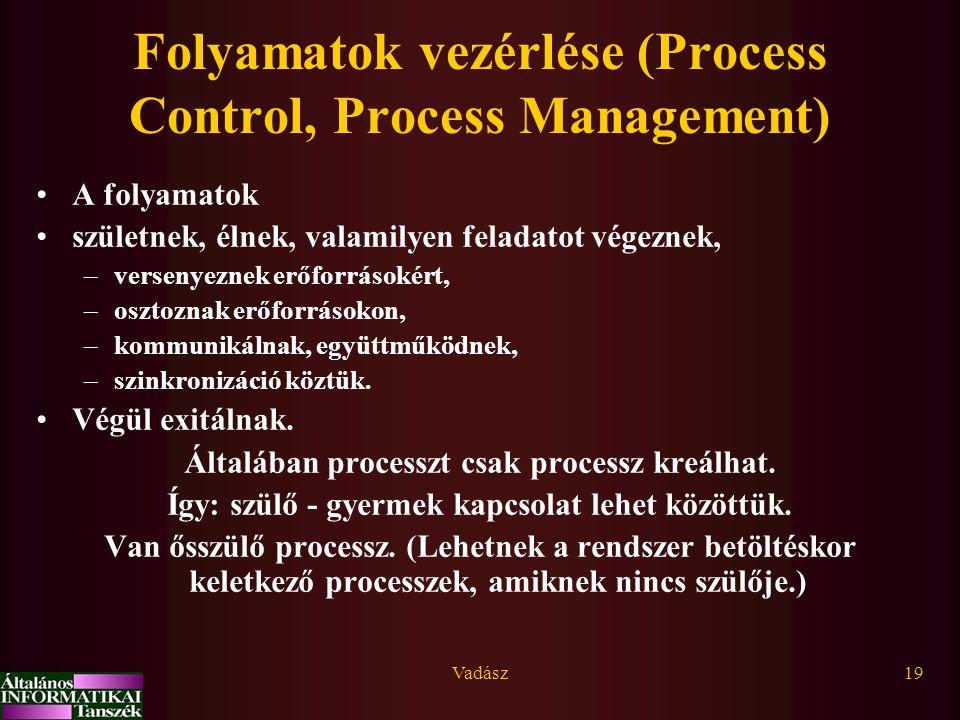 Vadász19 Folyamatok vezérlése (Process Control, Process Management) A folyamatok születnek, élnek, valamilyen feladatot végeznek, –versenyeznek erőfor