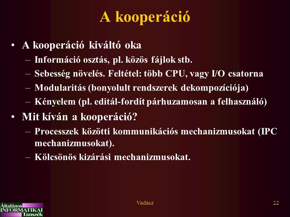 Vadász22 A kooperáció A kooperáció kiváltó oka –Információ osztás, pl. közös fájlok stb. –Sebesség növelés. Feltétel: több CPU, vagy I/O csatorna –Mod
