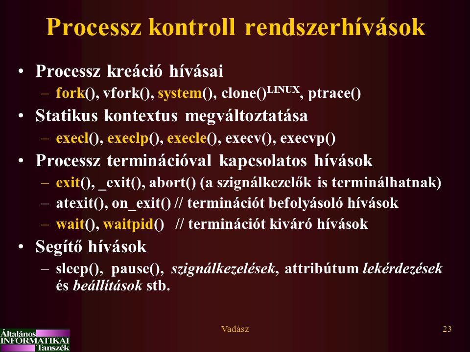 Vadász23 Processz kontroll rendszerhívások Processz kreáció hívásai –fork(), vfork(), system(), clone() LINUX, ptrace() Statikus kontextus megváltozta