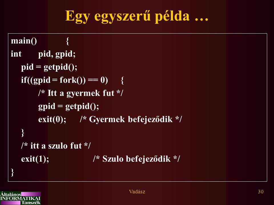 Vadász30 Egy egyszerű példa … main() { intpid, gpid; pid = getpid(); if((gpid = fork()) == 0){ /* Itt a gyermek fut */ gpid = getpid(); exit(0); /* Gy