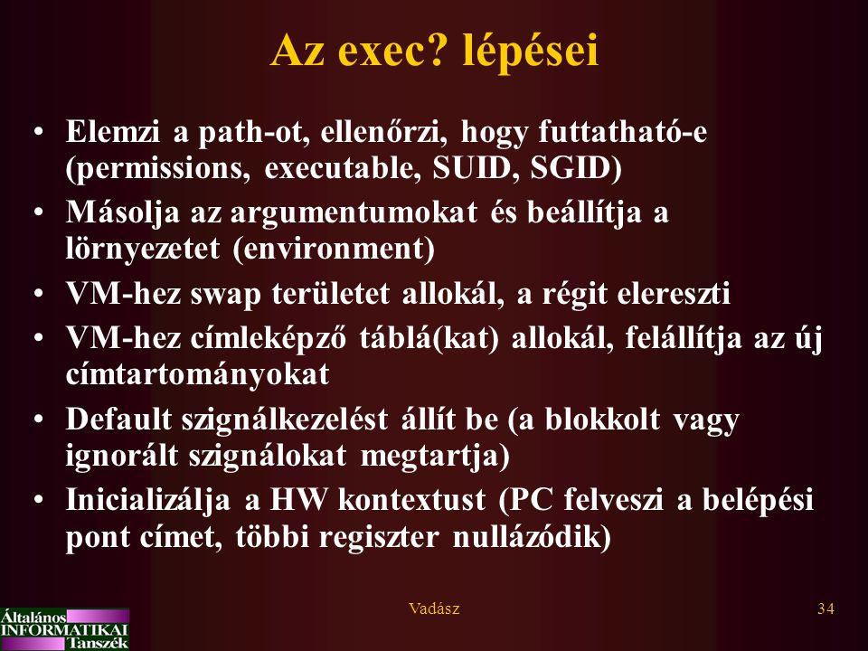 Vadász34 Az exec? lépései Elemzi a path-ot, ellenőrzi, hogy futtatható-e (permissions, executable, SUID, SGID) Másolja az argumentumokat és beállítja