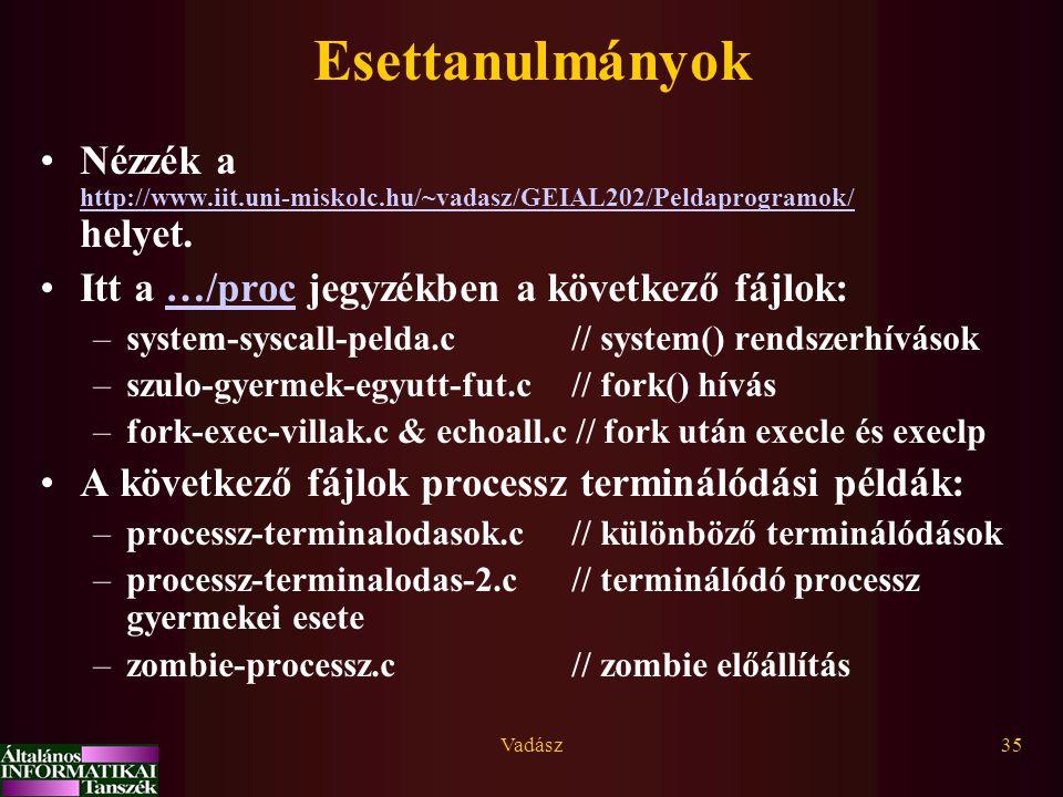 Vadász35 Esettanulmányok Nézzék a http://www.iit.uni-miskolc.hu/~vadasz/GEIAL202/Peldaprogramok/ helyet. http://www.iit.uni-miskolc.hu/~vadasz/GEIAL20