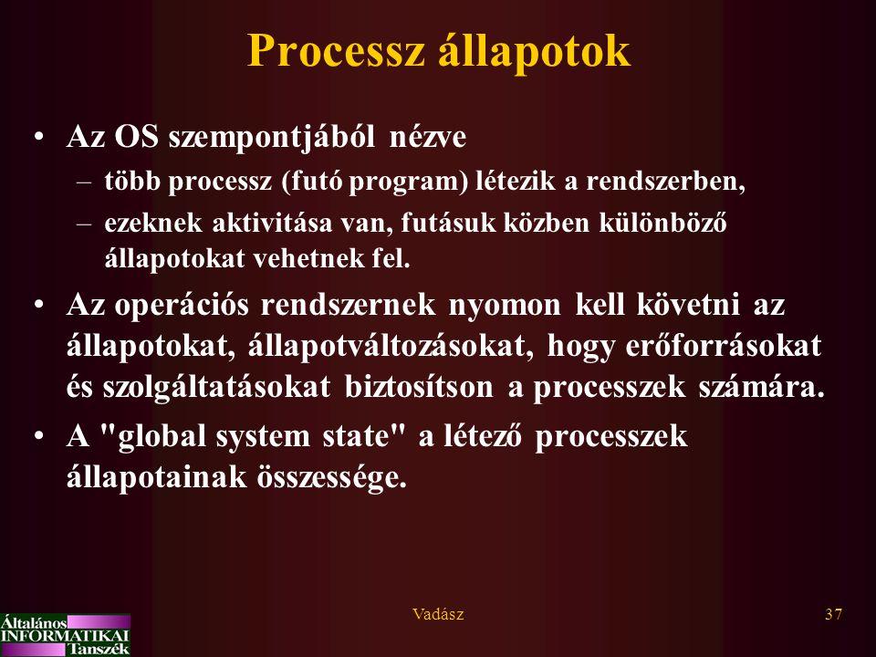 Vadász37 Processz állapotok Az OS szempontjából nézve –több processz (futó program) létezik a rendszerben, –ezeknek aktivitása van, futásuk közben kül