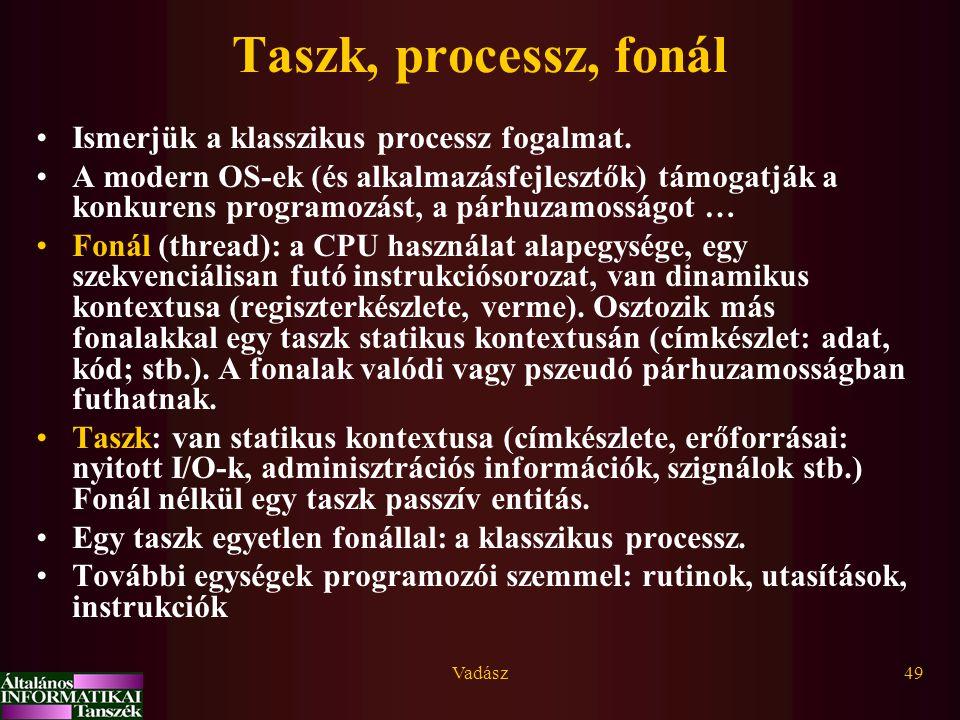 Vadász49 Taszk, processz, fonál Ismerjük a klasszikus processz fogalmat. A modern OS-ek (és alkalmazásfejlesztők) támogatják a konkurens programozást,