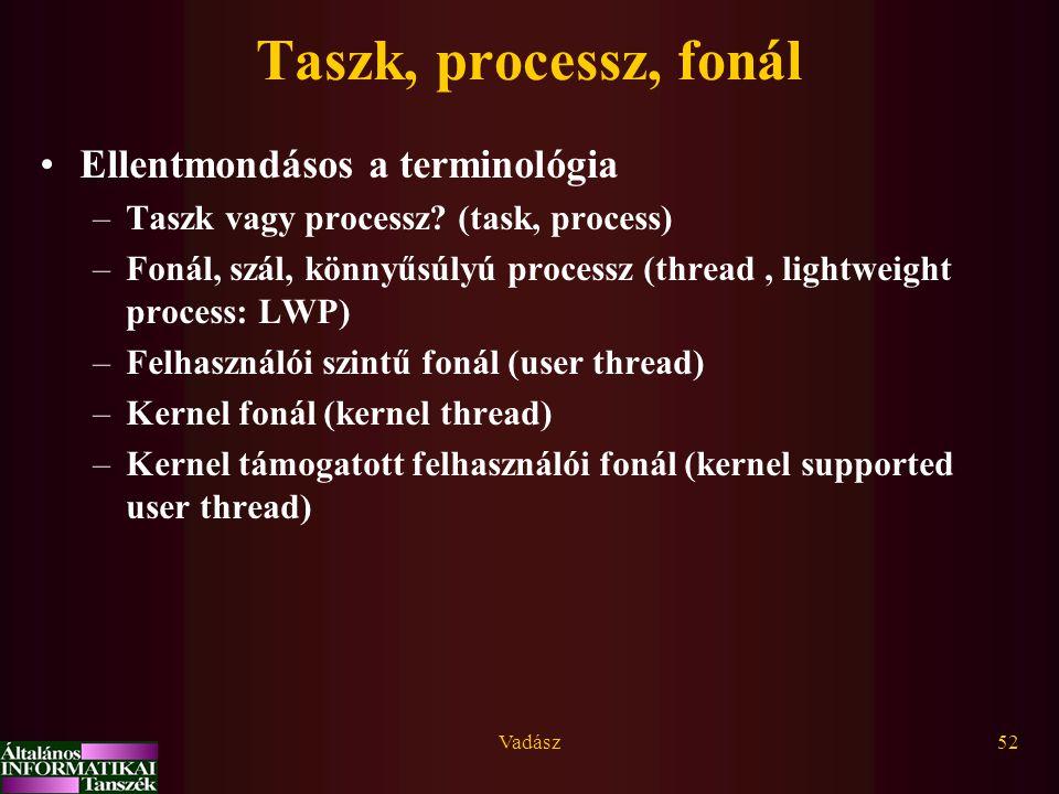 Vadász52 Taszk, processz, fonál Ellentmondásos a terminológia –Taszk vagy processz? (task, process) –Fonál, szál, könnyűsúlyú processz (thread, lightw