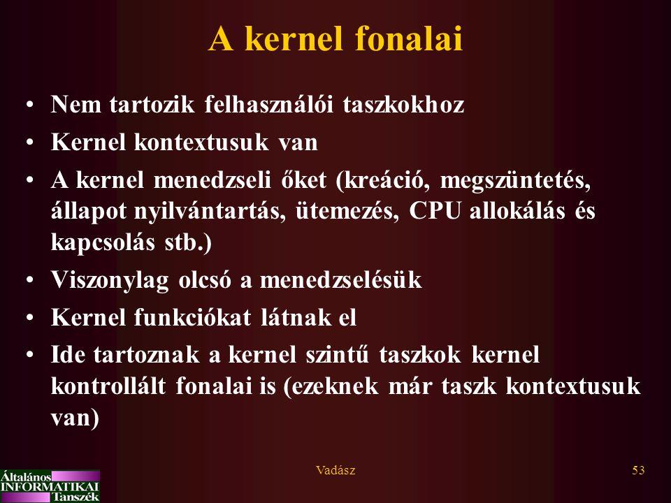 Vadász53 A kernel fonalai Nem tartozik felhasználói taszkokhoz Kernel kontextusuk van A kernel menedzseli őket (kreáció, megszüntetés, állapot nyilván