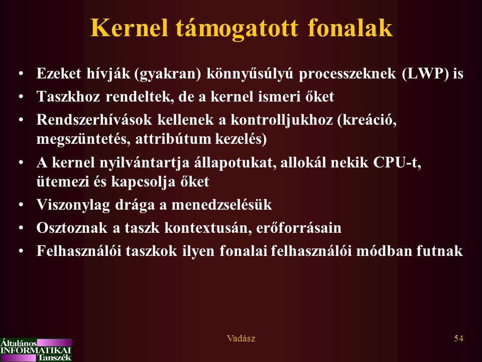 Vadász54 Kernel támogatott fonalak Ezeket hívják (gyakran) könnyűsúlyú processzeknek (LWP) is Taszkhoz rendeltek, de a kernel ismeri őket Rendszerhívá