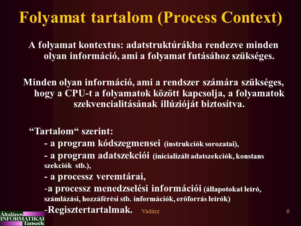 Vadász6 Folyamat tartalom (Process Context) A folyamat kontextus: adatstruktúrákba rendezve minden olyan információ, ami a folyamat futásához szüksége