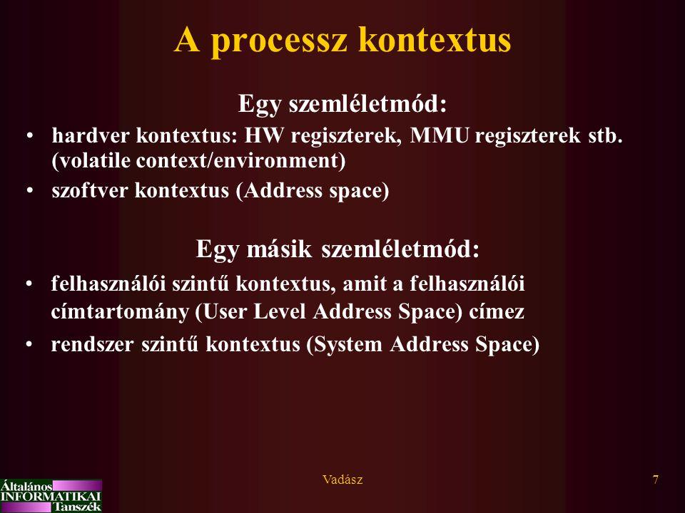 Vadász8 Futási mód - kontextus - címtartomány Emlékezz: módváltás=trap/kivételes esemény/IT User mód User Address Space Kernel mód Kernel Address Space Processz kontextus (program, adat, verem) Admin.