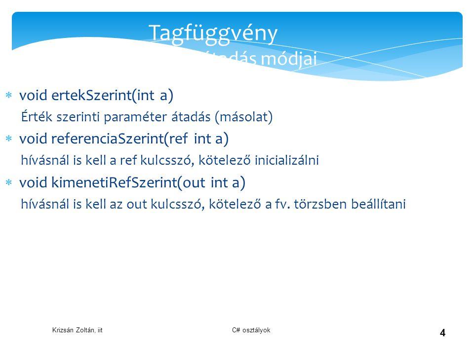 Krizsán Zoltán, iit C# osztályok 4 Tagfüggvény paraméter átadás módjai  void ertekSzerint(int a) Érték szerinti paraméter átadás (másolat)  void ref