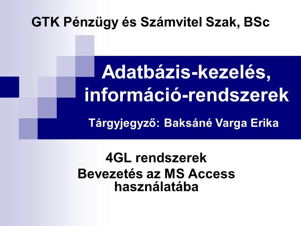 Adatbázis-kezelés, információ-rendszerek 4GL rendszerek Bevezetés az MS Access használatába GTK Pénzügy és Számvitel Szak, BSc Tárgyjegyző: Baksáné Varga Erika