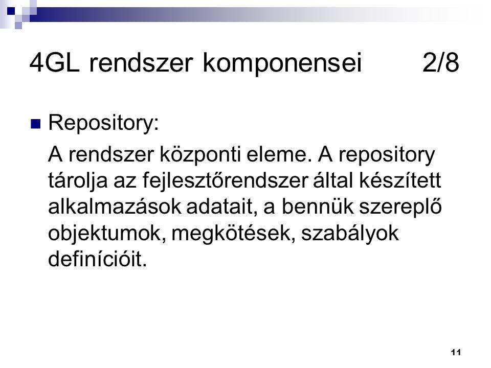 11 4GL rendszer komponensei2/8 Repository: A rendszer központi eleme.