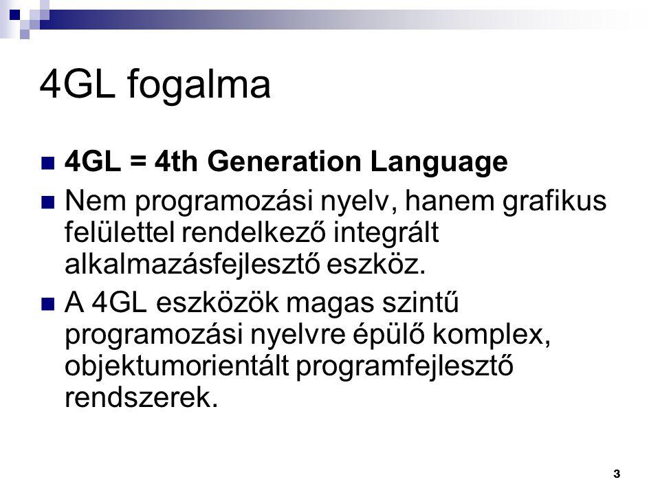 3 4GL fogalma 4GL = 4th Generation Language Nem programozási nyelv, hanem grafikus felülettel rendelkező integrált alkalmazásfejlesztő eszköz.