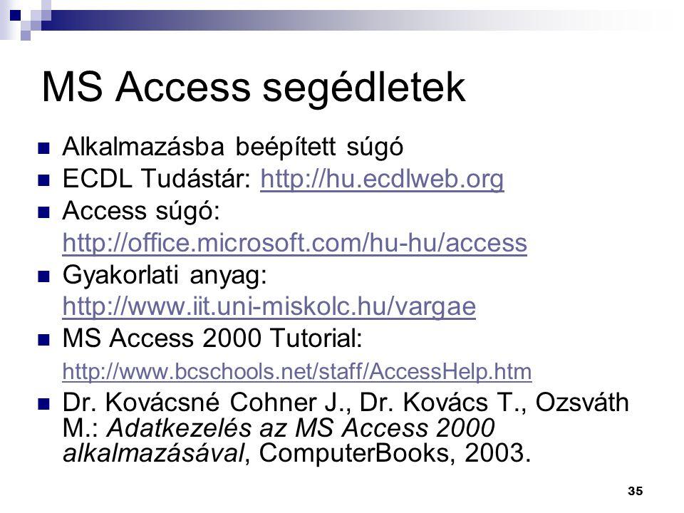35 MS Access segédletek Alkalmazásba beépített súgó ECDL Tudástár: http://hu.ecdlweb.orghttp://hu.ecdlweb.org Access súgó: http://office.microsoft.com/hu-hu/access Gyakorlati anyag: http://www.iit.uni-miskolc.hu/vargae MS Access 2000 Tutorial: http://www.bcschools.net/staff/AccessHelp.htm Dr.
