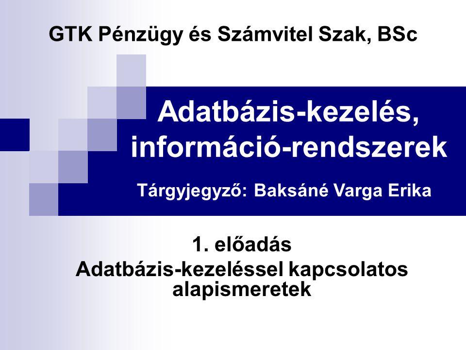 Adatbázis-kezelés, információ-rendszerek 1. előadás Adatbázis-kezeléssel kapcsolatos alapismeretek GTK Pénzügy és Számvitel Szak, BSc Tárgyjegyző: Bak