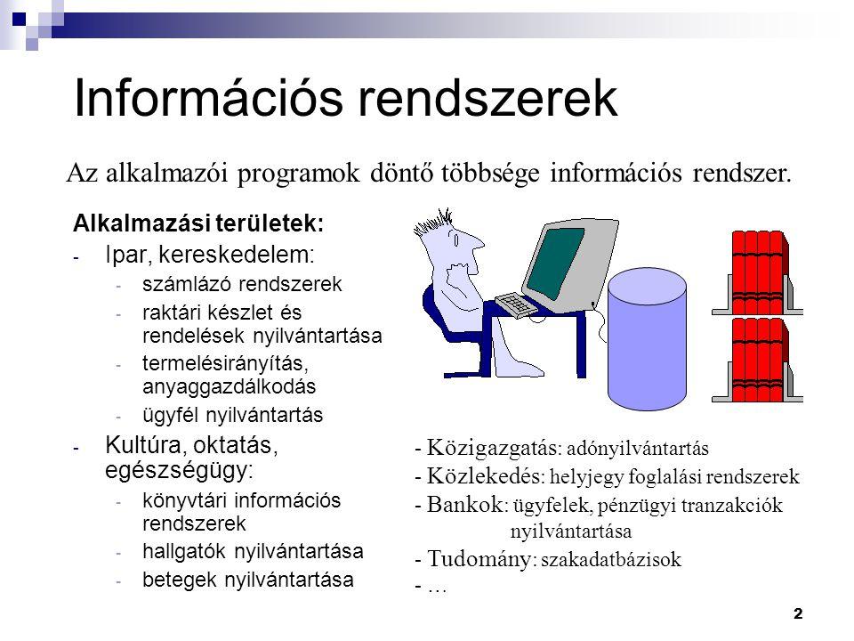 2 Információs rendszerek Alkalmazási területek: - Ipar, kereskedelem: - számlázó rendszerek - raktári készlet és rendelések nyilvántartása - termelési