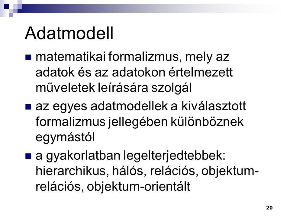 20 Adatmodell matematikai formalizmus, mely az adatok és az adatokon értelmezett műveletek leírására szolgál az egyes adatmodellek a kiválasztott form