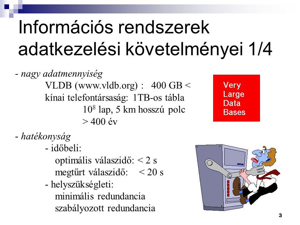 3 Információs rendszerek adatkezelési követelményei 1/4 - nagy adatmennyiség VLDB (www.vldb.org) : 400 GB < kínai telefontársaság: 1TB-os tábla 10 8 l