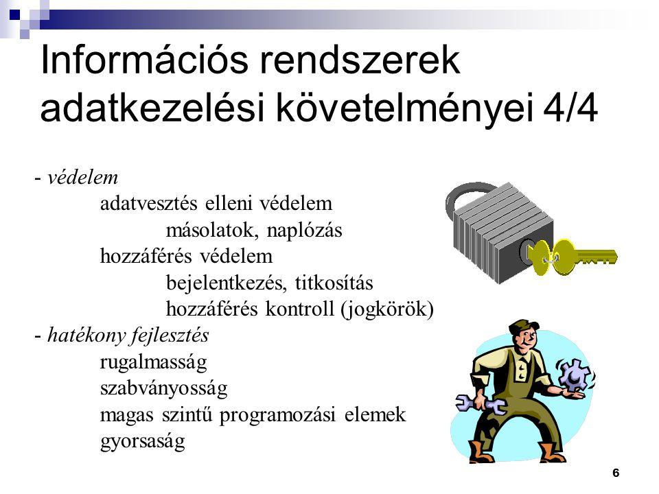 6 Információs rendszerek adatkezelési követelményei 4/4 - védelem adatvesztés elleni védelem másolatok, naplózás hozzáférés védelem bejelentkezés, tit