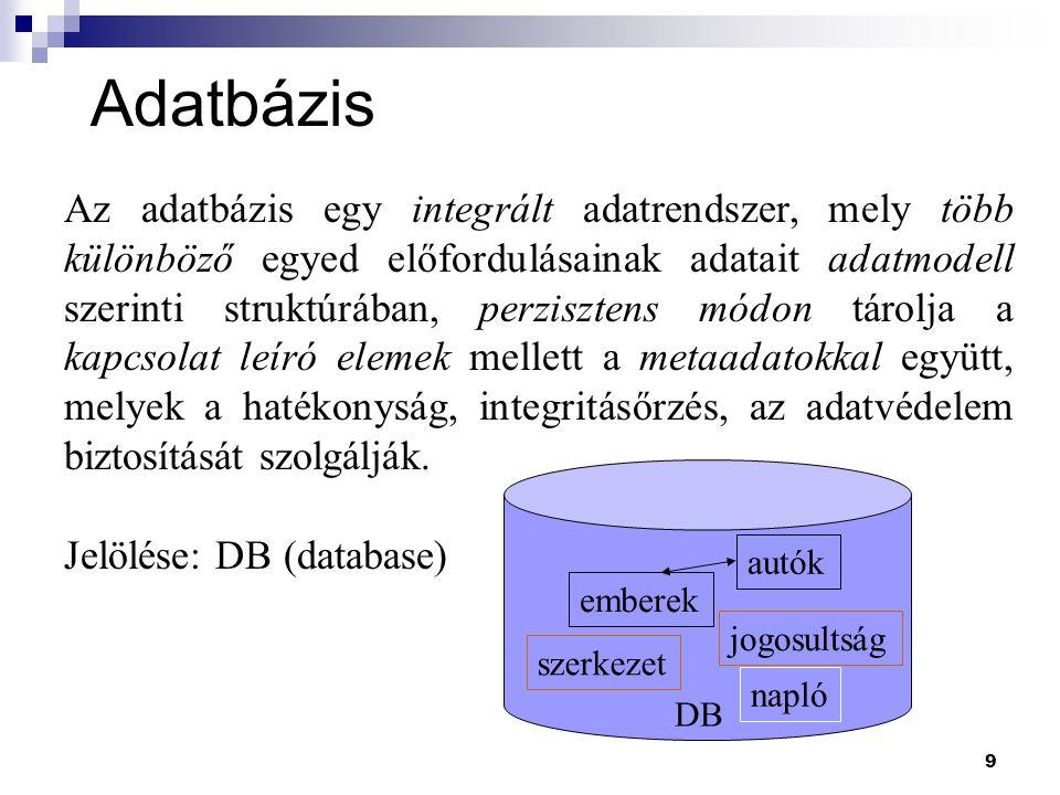 9 Adatbázis DB autók emberek jogosultság szerkezet napló Az adatbázis egy integrált adatrendszer, mely több különböző egyed előfordulásainak adatait a